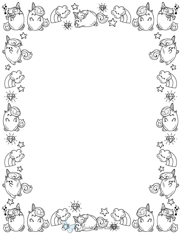 Printable Black And White Kawaii Unicorn Page Border