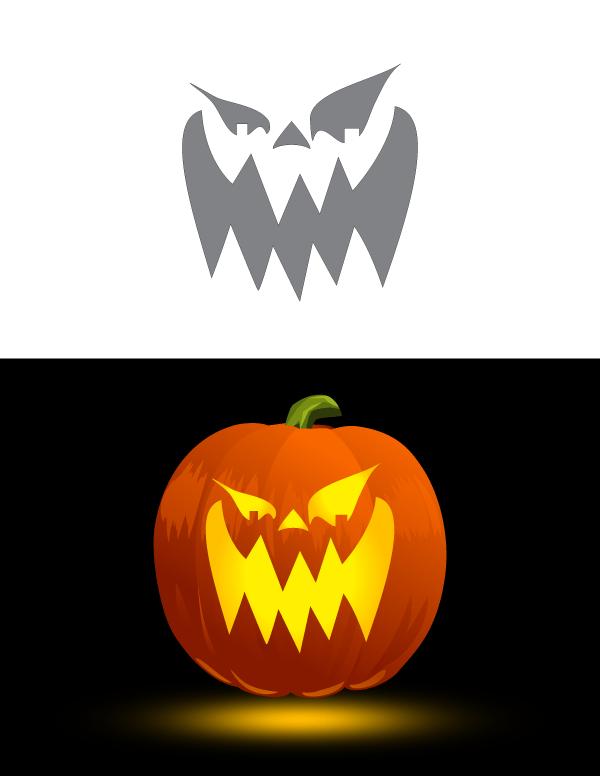 Jack O'lantern Faces : o'lantern, faces, Printable, Scary, O'Lantern, Pumpkin, Stencil