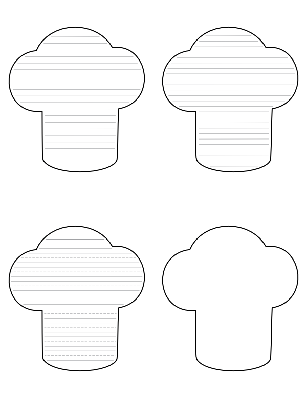 Free Printable Chef Hat-Shaped Writing Templates