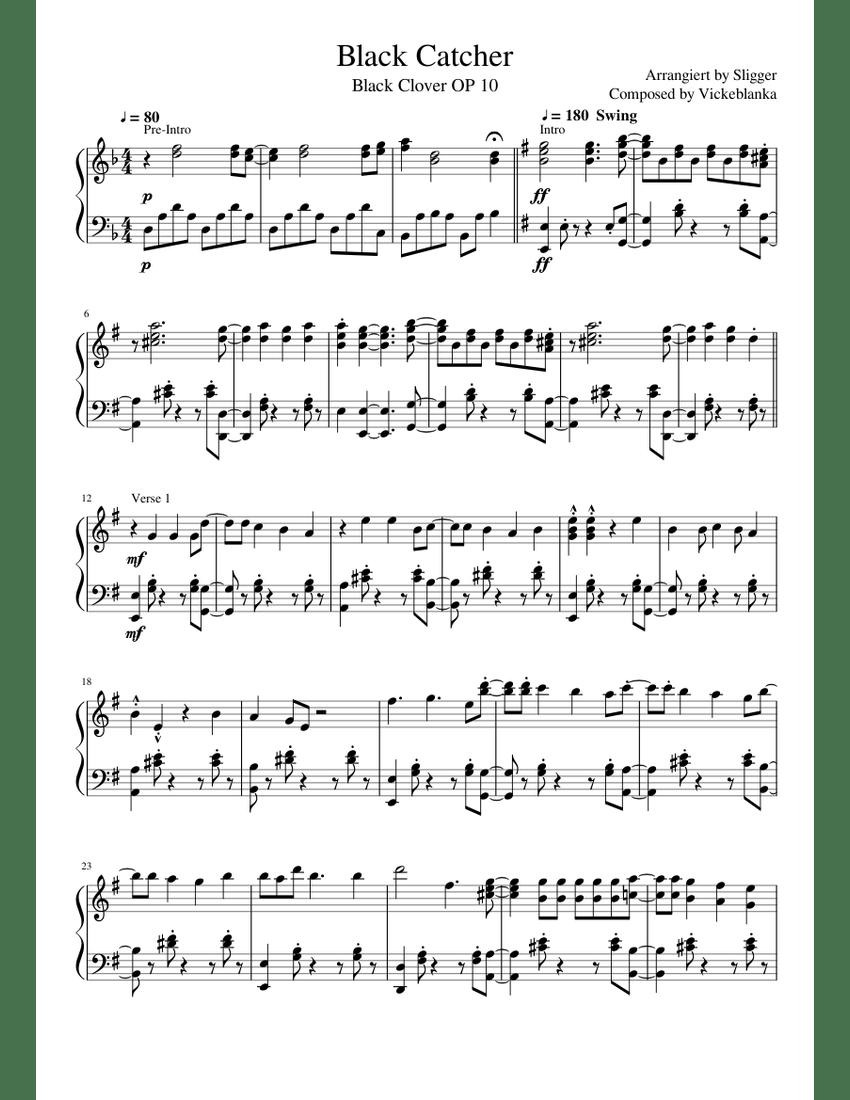 Black Catcher Piano Sheet Music : black, catcher, piano, sheet, music, Black, Catcher, Sheet, Music, Piano, (Solo), Musescore.com