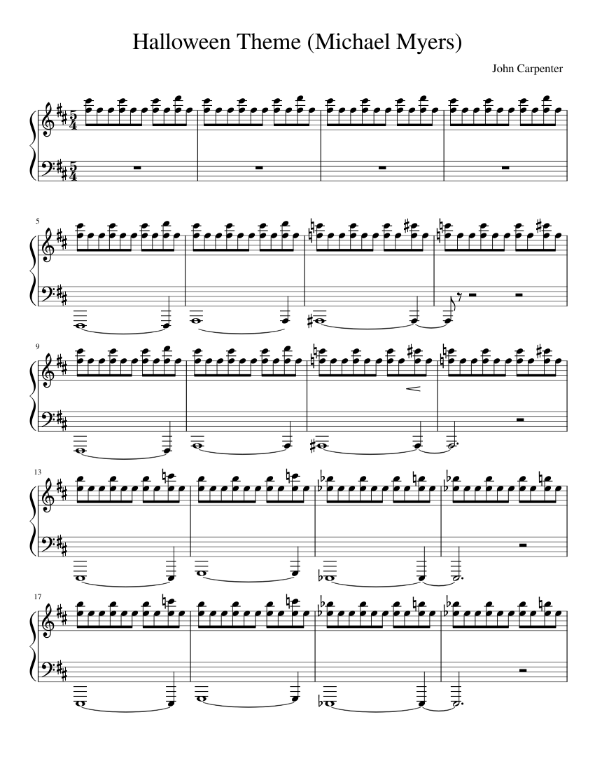 Michael Myers Theme Song - Sheet music for Piano, Triangle