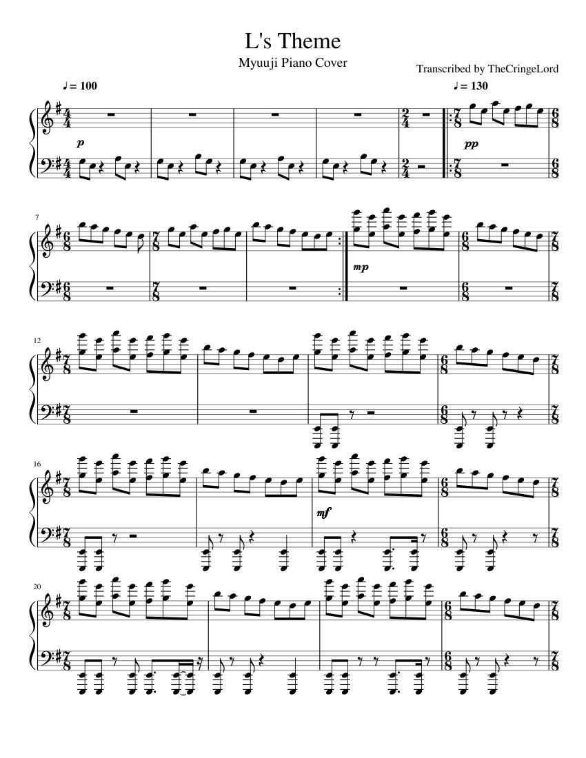 L's Theme Sheet Music : theme, sheet, music, Theme, (Myuuji, Piano, Cover), Sheet, Music, (Solo), Musescore.com