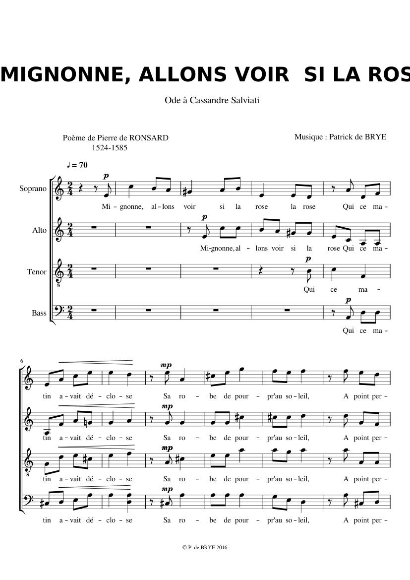 Mignone Allons Voir Si La Rose : mignone, allons, Mignonne,, Allons, Sheet, Music, Soprano,, Tenor,, Alto,, (Choral), Musescore.com