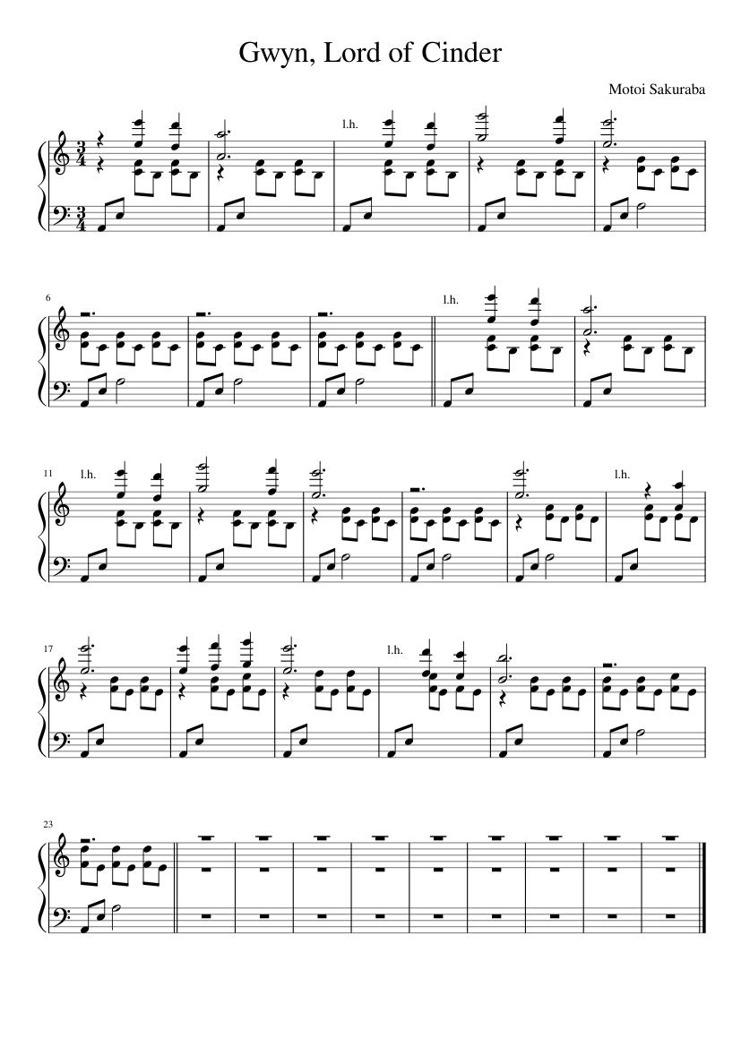 Gwyn Lord Of Cinder Piano Sheet Music : cinder, piano, sheet, music, Gwyn,, Cinder, (Simplified;, Sheet, Music, Piano, (Solo), Musescore.com