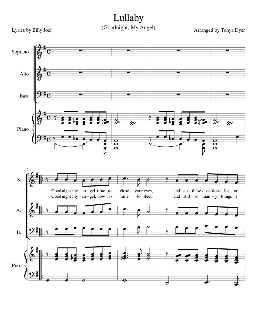 Billy Joel Lullaby Sheet Music : billy, lullaby, sheet, music, Lullaby, (Goodnight, Angel), Sheet, Music, Piano,, Soprano,, Alto,, (Mixed, Quartet), Musescore.com