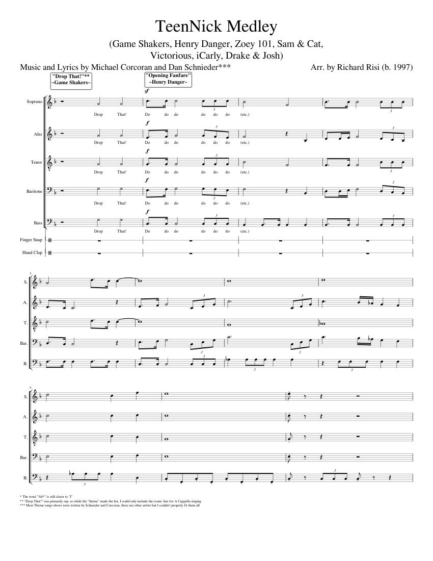 Sam And Cat Theme Song Lyrics : theme, lyrics, TeenNick, Medley, Sheet, Music, Soprano,, Tenor,, Alto,, Instruments, Capella), Musescore.com