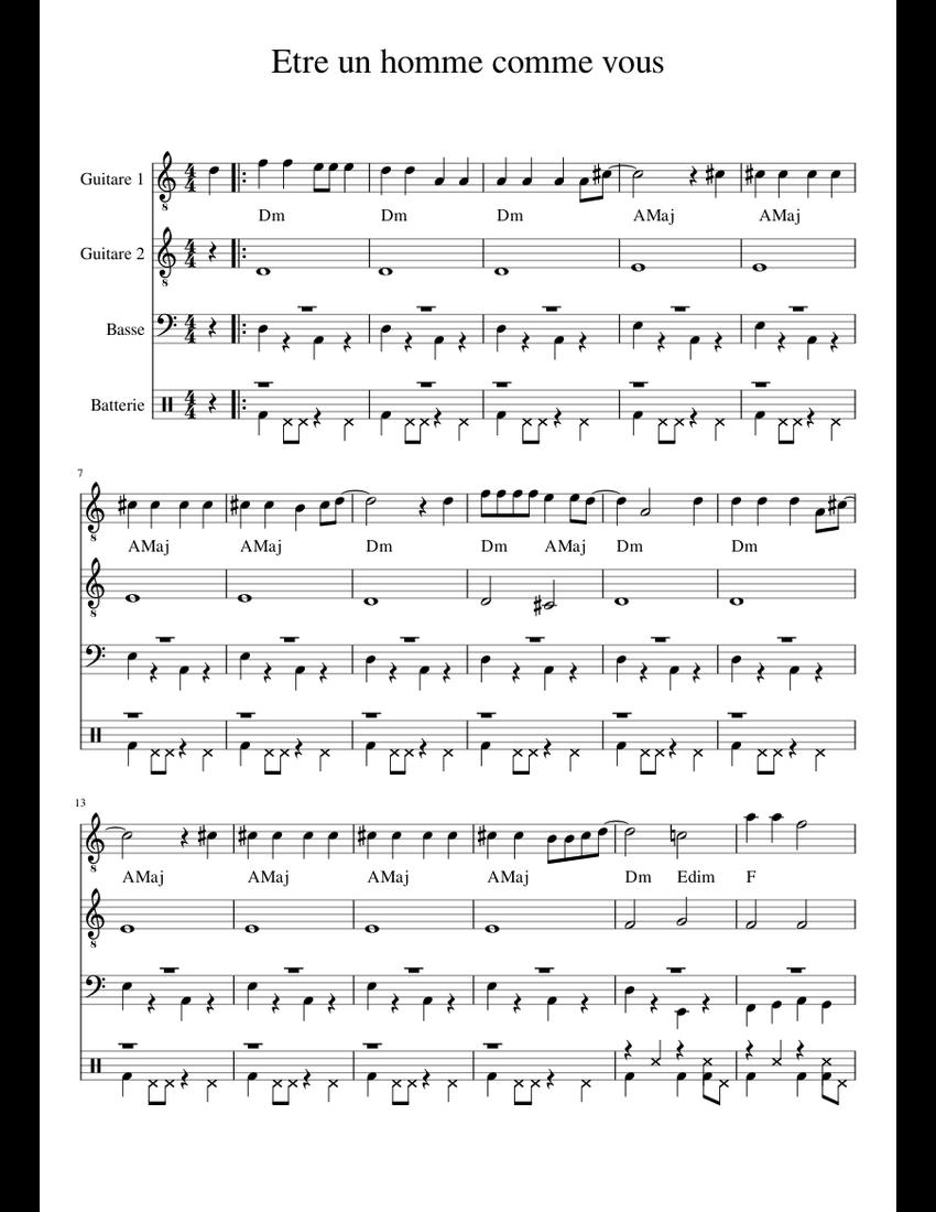 Je Voudrais Etre Un Homme : voudrais, homme, Homme, Comme, Sheet, Music, Group,, Guitar,, (Mixed, Quartet), Musescore.com