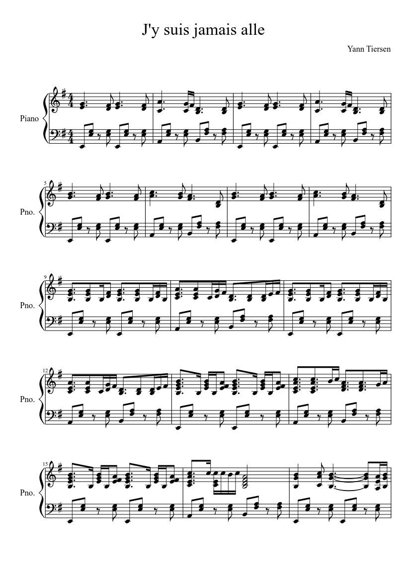 Je N'y Suis Jamais Allé : jamais, allé, Jamais, Sheet, Music, Piano, (Solo), Musescore.com