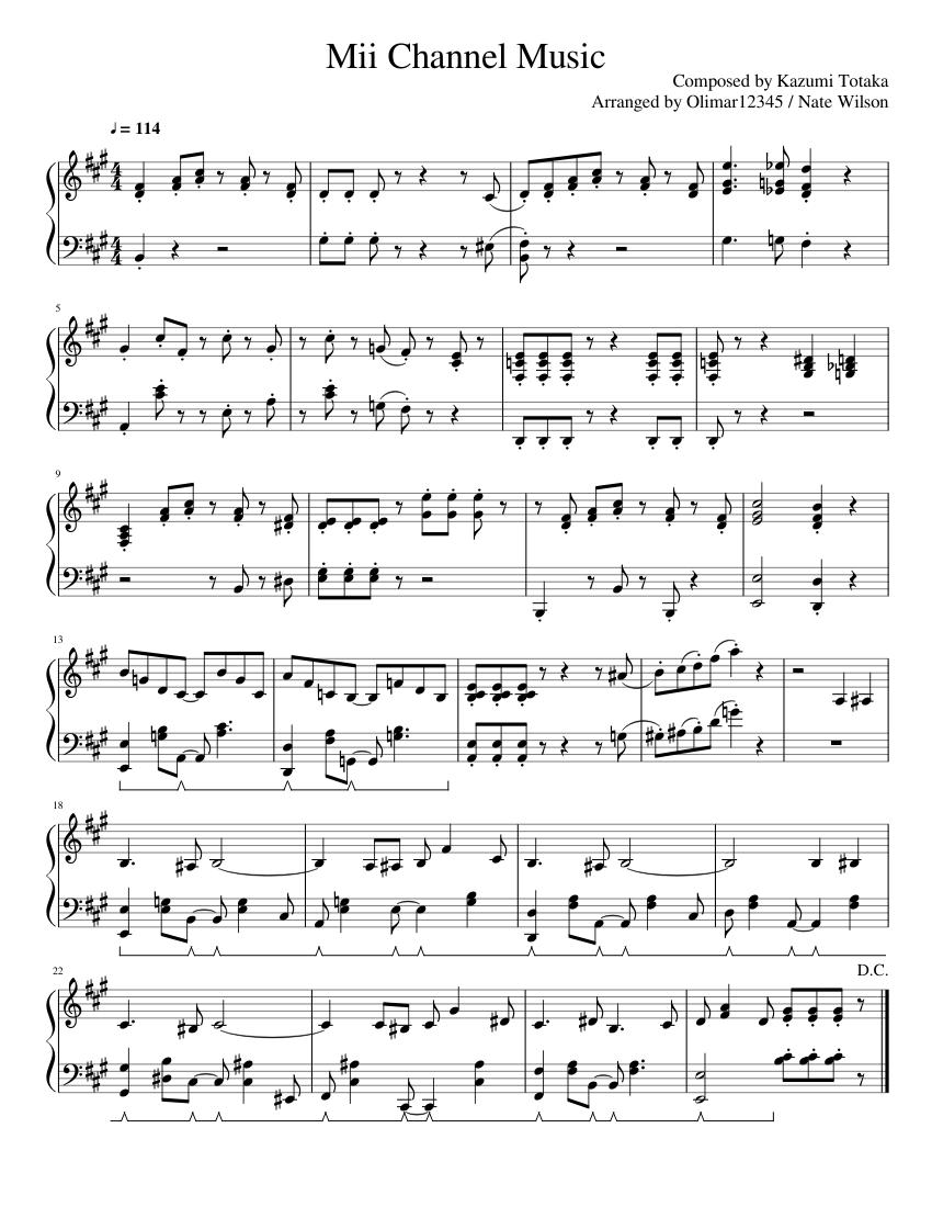 Mii Theme Sheet Music : theme, sheet, music, Channel, (piano), Piano, Tutorial