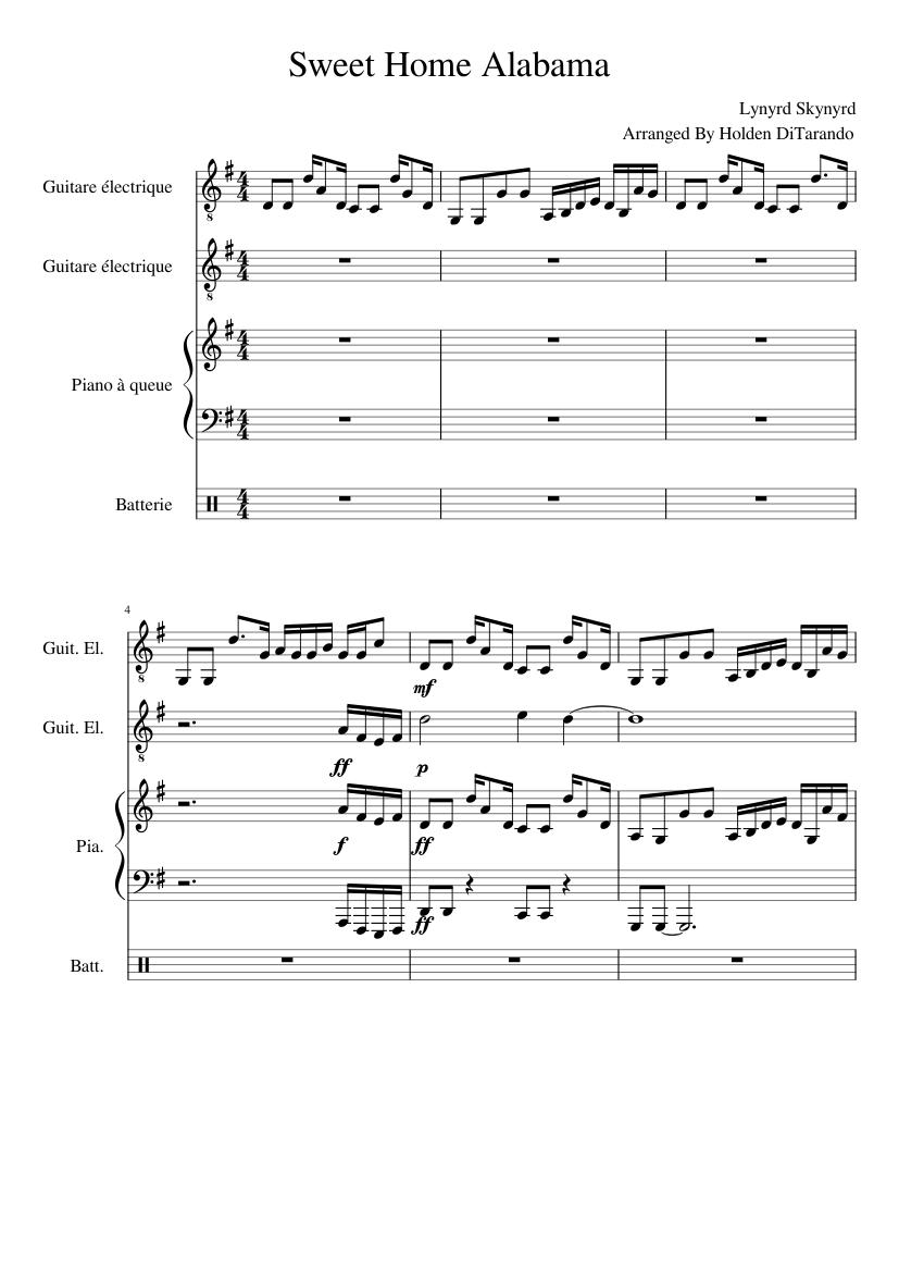Abm9 am9 a#m9 ▪ bbm9 bm9 b#m9 ▪ cbm9 cm9 c#m9 ▪ dbm9 dm9 d#m9 ▪ ebm9 em9 e#m9 ▪ fbm9 fm9 f#m9 ▪ gbm9 gm9 g. Sweet Home Alabama Sheet Music For Drum Group Guitar Piano Mixed Quartet Musescore Com