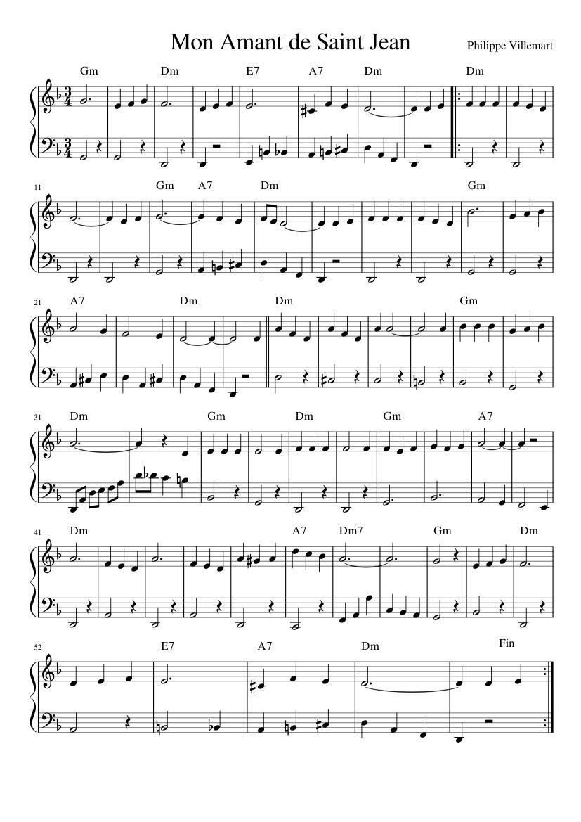 Mon Amant De St Jean : amant, Amant, Saint, Sheet, Music, Piano, (Solo), Musescore.com