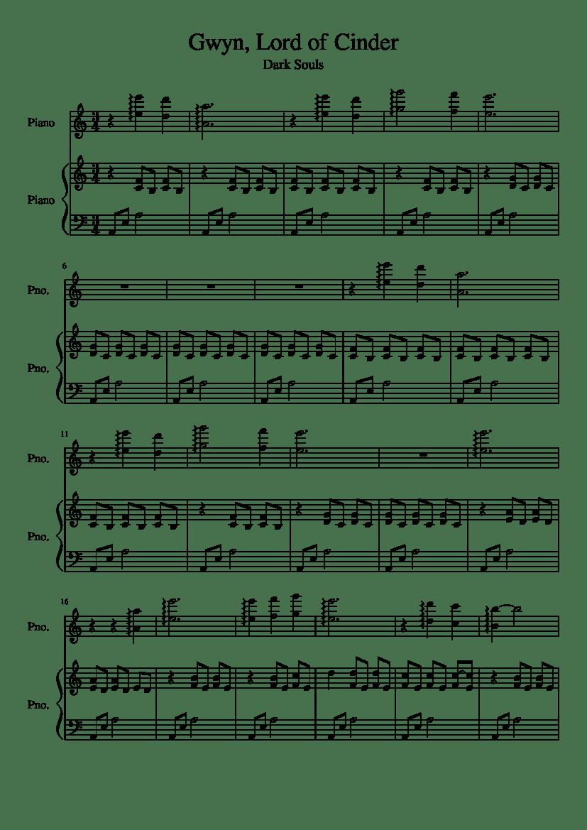 Gwyn Lord Of Cinder Piano Sheet Music : cinder, piano, sheet, music, Cinder, Sheet, Music, Piano, (Piano, Musescore.com