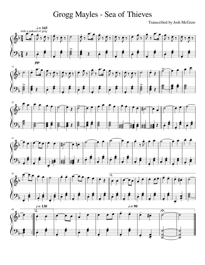 Sea Of Thieves Sheet Music : thieves, sheet, music, Grogg, Mayles, Thieves, Sheet, Music, Concertina, (Solo), Musescore.com