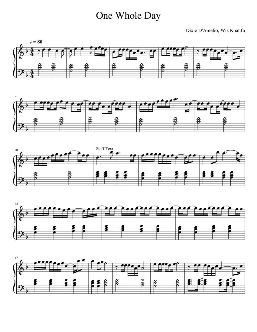 Dixie D'amelio One Whole Day Lyrics : dixie, d'amelio, whole, lyrics, Piano, Sheet, Music:, Dixie, D'Amelio, Whole, Sheets