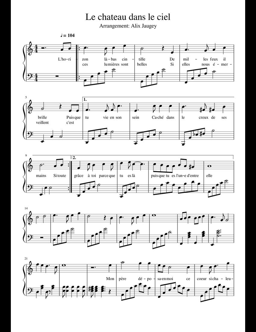 Musique Chateau Dans Le Ciel : musique, chateau, Chateau, Sheet, Music, Piano, (Solo), Musescore.com