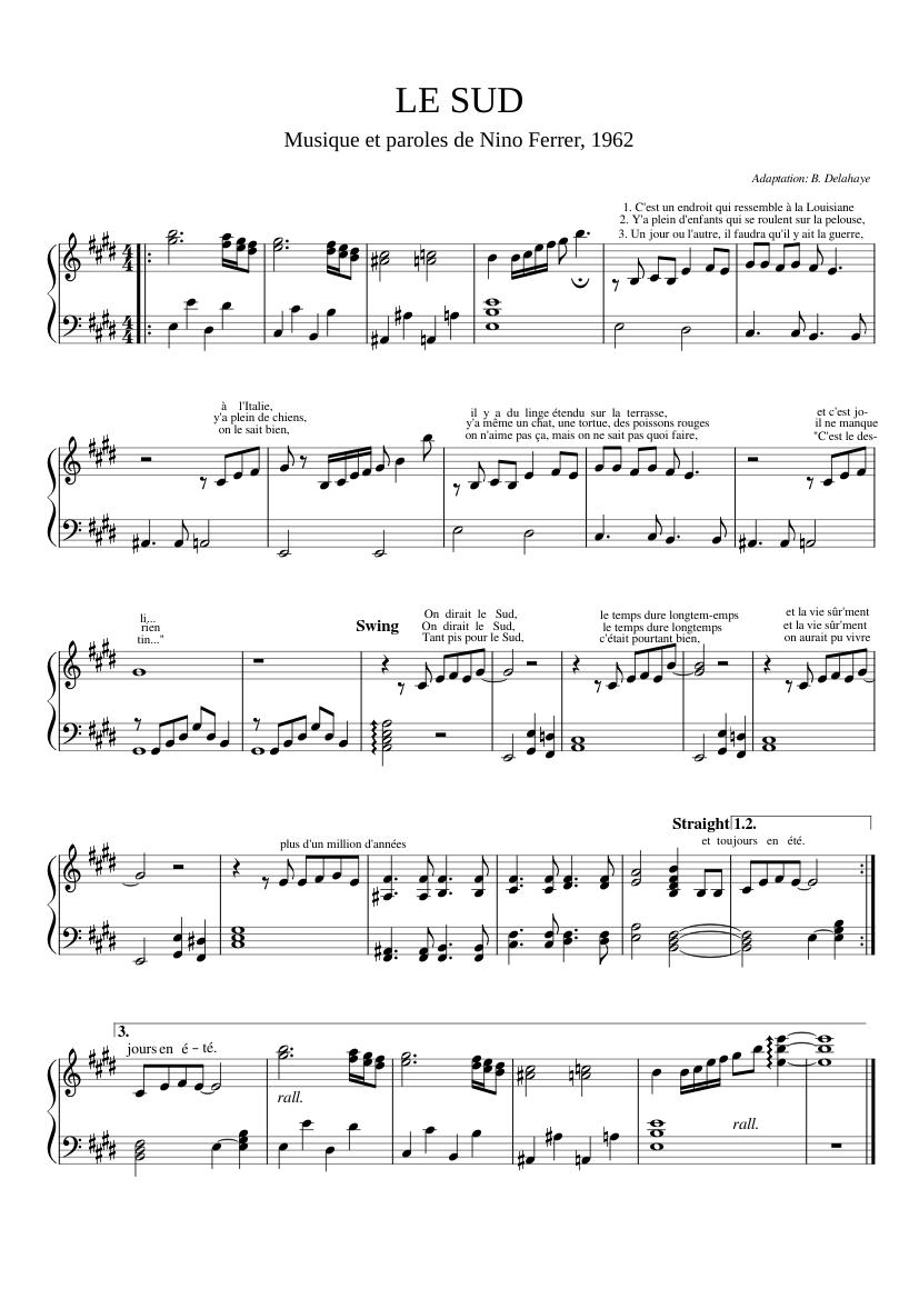 Parole Le Sud Nino Ferrer : parole, ferrer, Piano-chant, Sheet, Music, Group, (Solo), Musescore.com