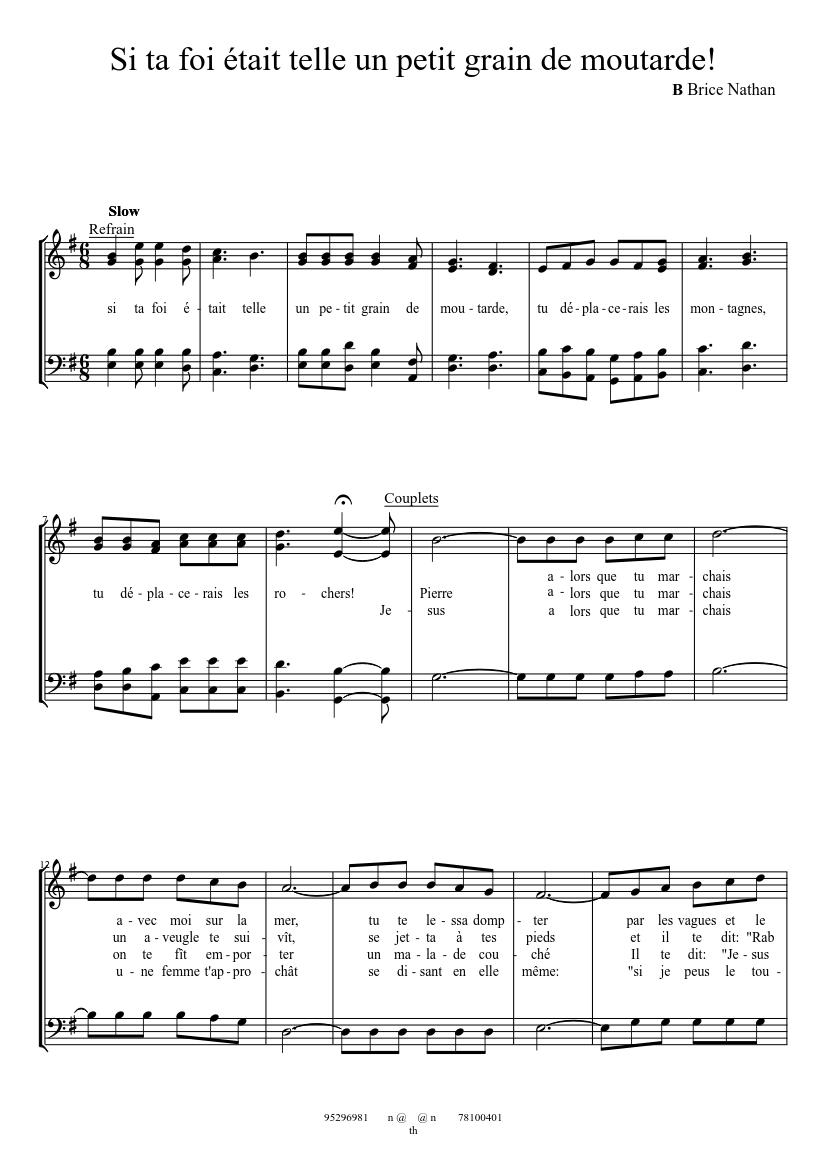 Homme De Peu De Foi : homme, Homme, Sheet, Music, Baritone,, Bouzouki, (Mixed, Duet), Musescore.com