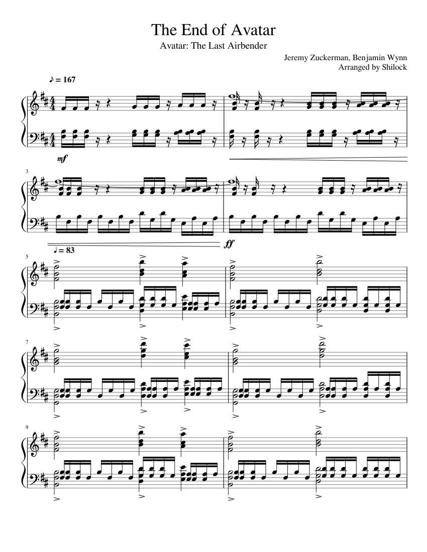 Avatar Last Airbender Ending Song : avatar, airbender, ending, Avatar:, Airbender, Avatar, Sheet, Music, Piano, (Solo), Musescore.com