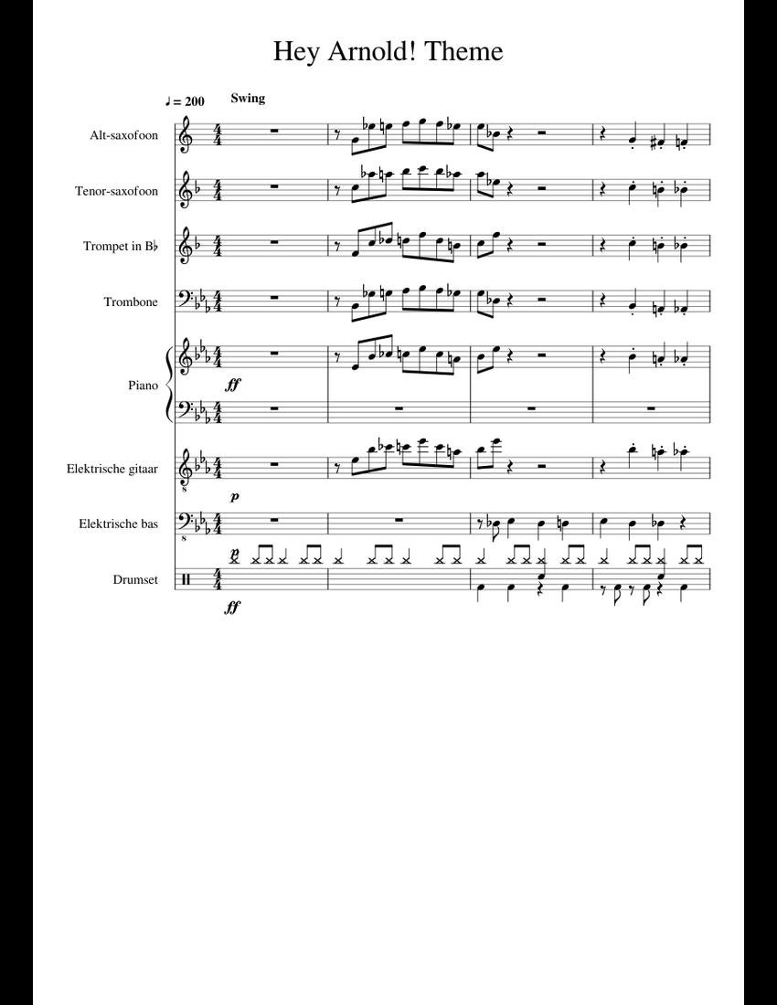 Hey Arnold Soundtrack : arnold, soundtrack, Arnold!, Theme, Sheet, Music, Piano,, Trumpet, Flat),, Trombone,, Group, Instruments, (Mixed, Ensemble), Musescore.com