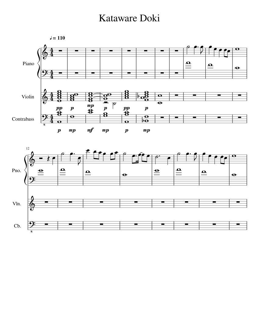 Kataware Doki Sheet Music : kataware, sheet, music, Kataware, Violin, Piano, Sheet, Music, Piano,, Violin,, Contrabass, (Mixed, Trio), Musescore.com