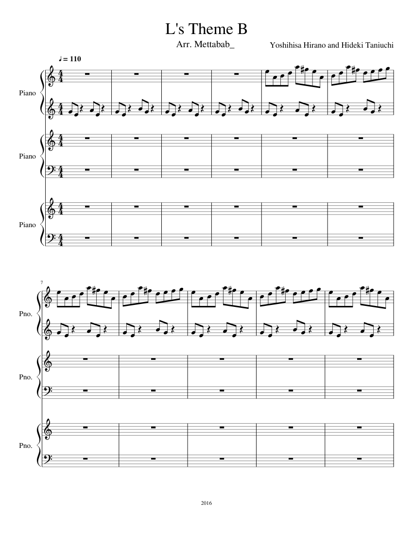 L's Theme Sheet Music : theme, sheet, music, Death, Theme, (WIP), Sheet, Music, Piano, (Mixed, Trio), Musescore.com