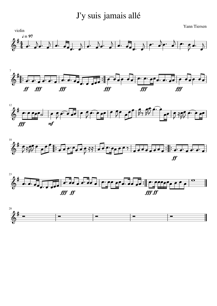 Je N'y Suis Jamais Allé : jamais, allé, Jamais, Allé, (violin), Sheet, Music, Violin, (Solo), Musescore.com