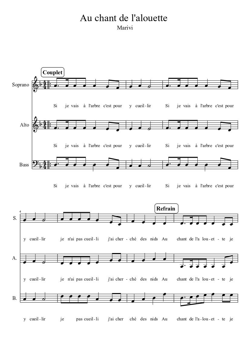 Au Chant De L Alouette : chant, alouette, Chant, L'alouette, Sheet, Music, (Solo), Musescore.com