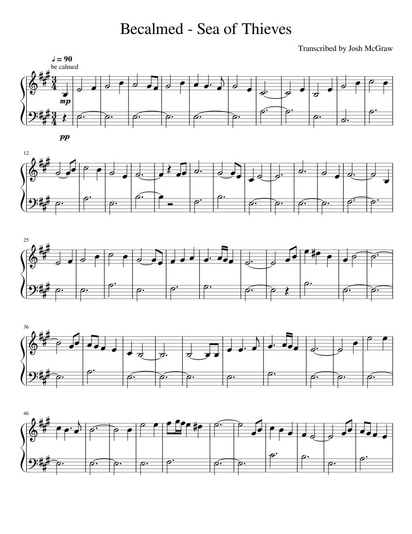 Sea Of Thieves Sheet Music : thieves, sheet, music, Becalmed, Thieves, Sheet, Music, Accordion, (Solo), Musescore.com