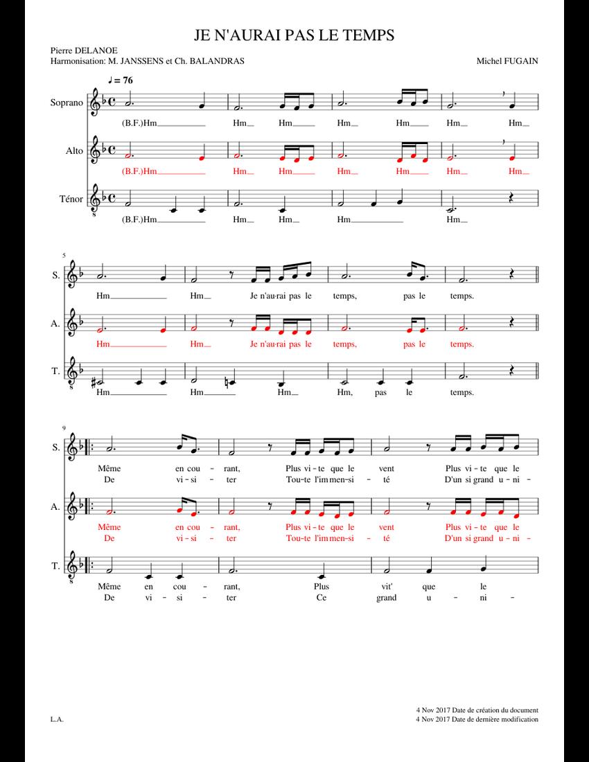 Je N Aurais Pas Le Temps : aurais, temps, N'AURAI, TEMPS, Sheet, Music, Soprano,, Tenor,, (Choral), Musescore.com