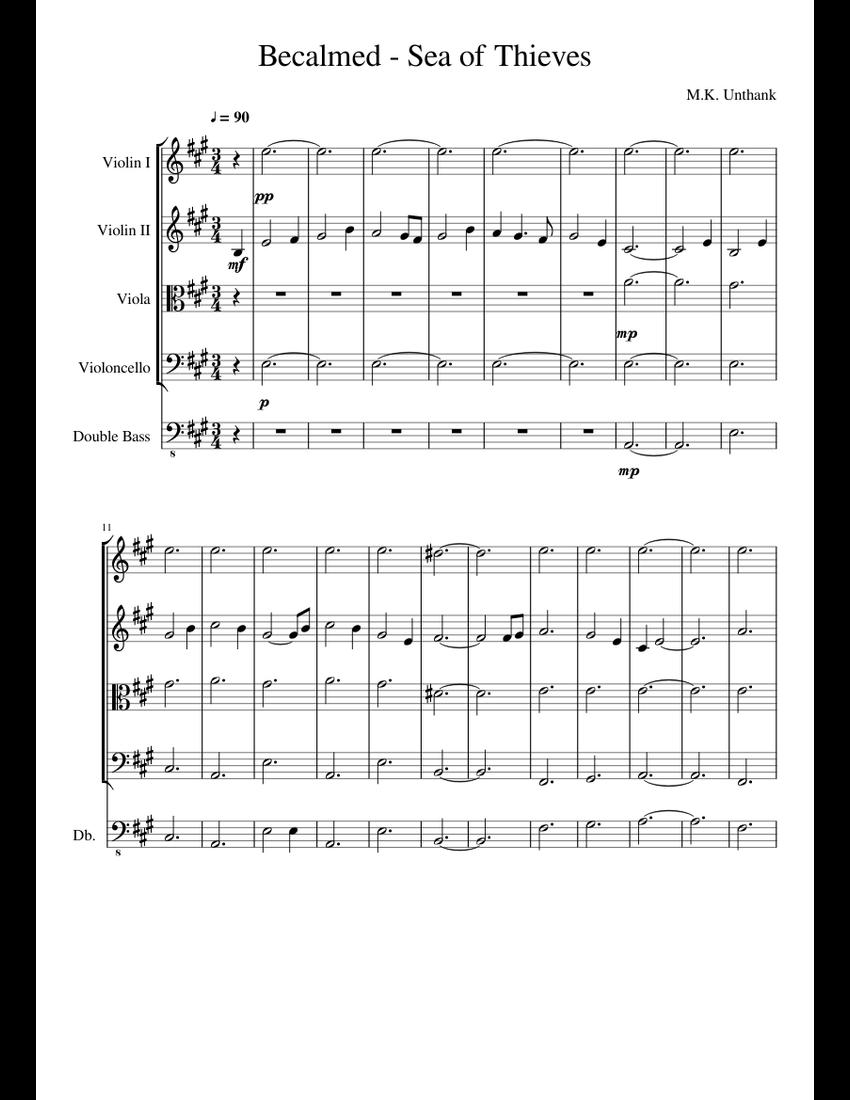 Sea Of Thieves Sheet Music : thieves, sheet, music, Becalmed, Thieves, Sheet, Music, Violin,, Cello,, Viola,, Contrabass, (String, Quintet), Musescore.com