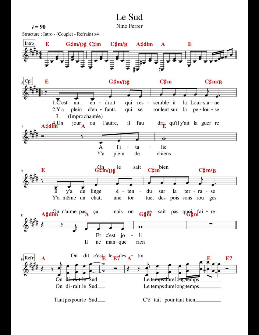 Parole Le Sud Nino Ferrer : parole, ferrer, Ferrer,, Sheet, Music, Vocals, (Solo), Musescore.com