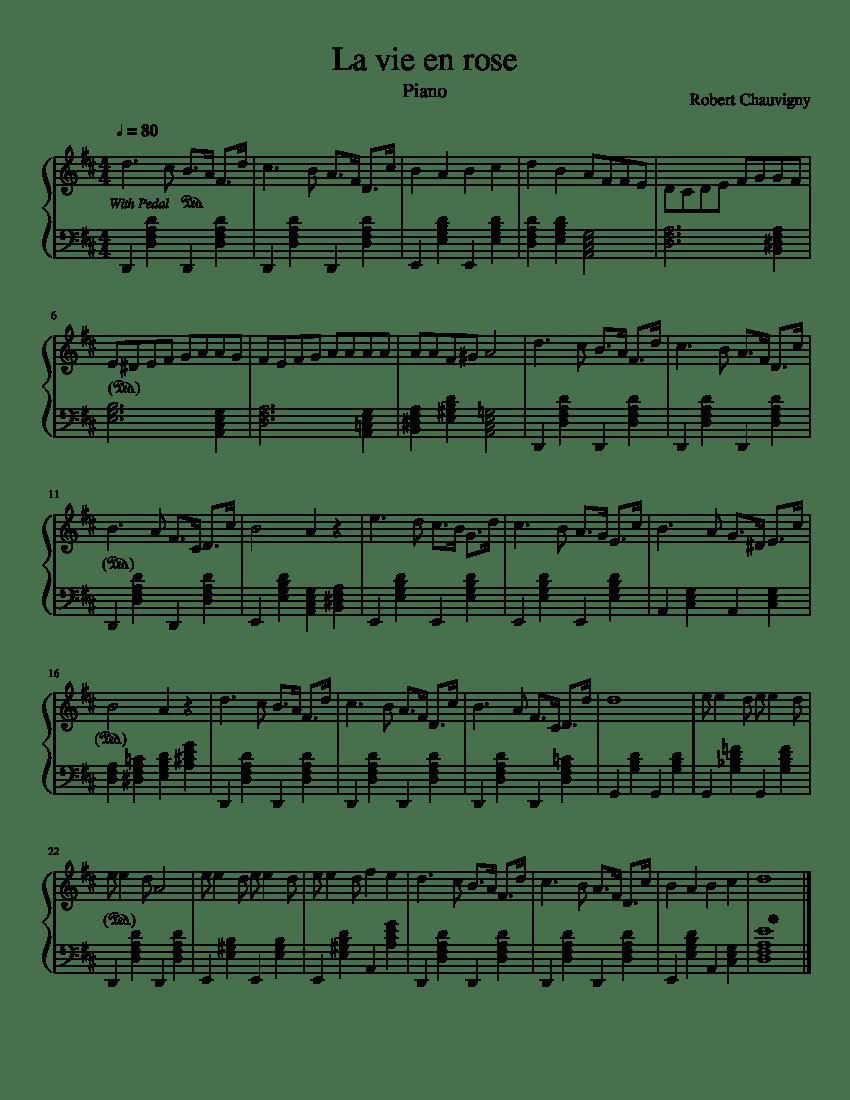 La Vie En Rose Notes : notes, Piano, (Intermediate), Sheet, Music, (Solo), Musescore.com