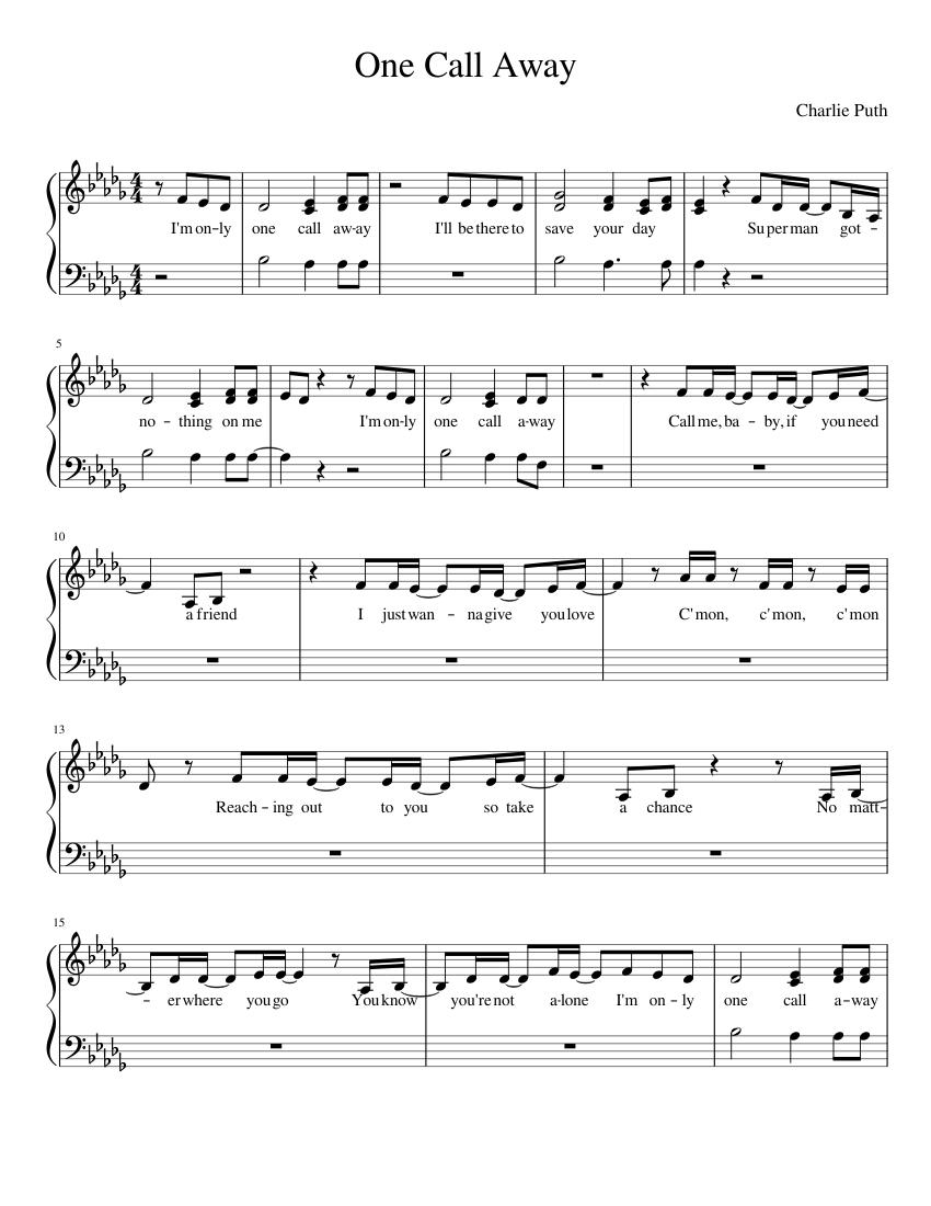 One Call Away Sheet music for Piano (Solo)   Musescore.com