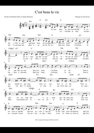 Jean Ferrat C'est Beau La Vie : ferrat, c'est, C'est, Sheet, Music, Guitar, (Solo), Musescore.com