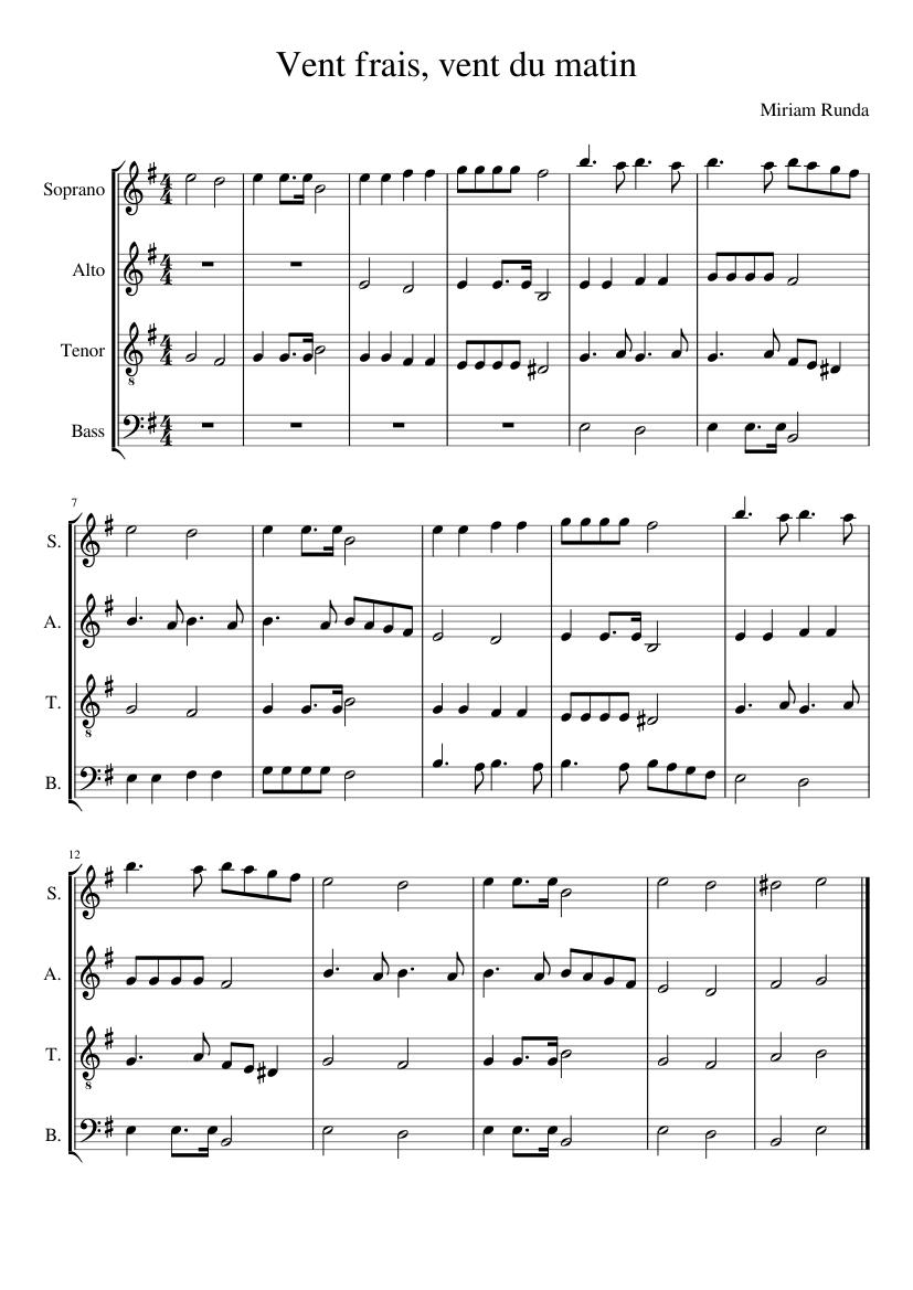 Vent Frais Vent Du Matin : frais, matin, Frais,, Matin, Sheet, Music, Soprano,, Tenor,, Alto,, (Choral), Musescore.com