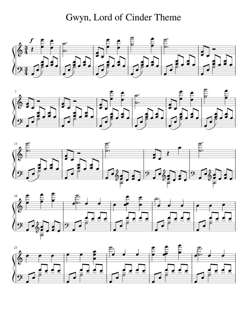 music_note Chords for Dark Souls - Gwyn, Lord of Cinder (2