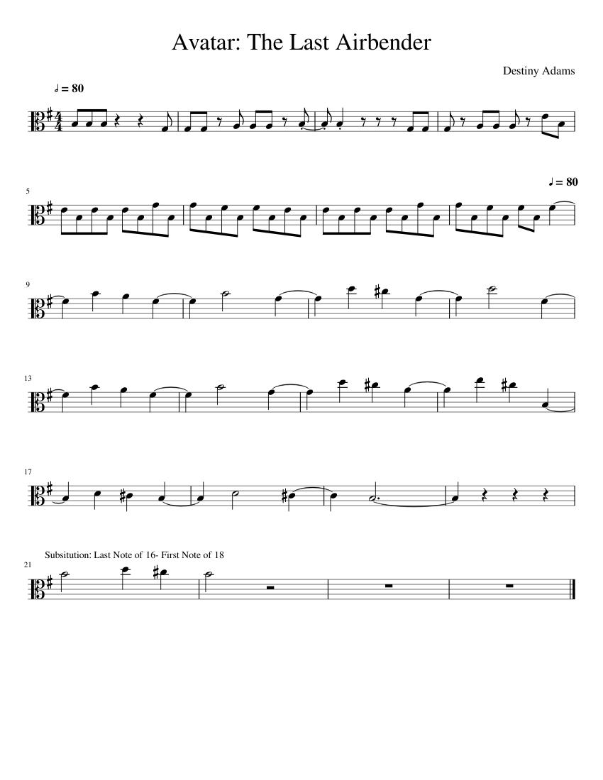 Atla Soundtrack : soundtrack, Avatar:, Airbender, Sheet, Music, Viola, (Solo), Musescore.com