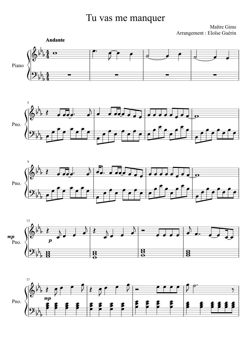 Tu Va Me Manquer Parole : manquer, parole, Manquer, Maître, Piano, Sheet, Music, (Solo), Musescore.com