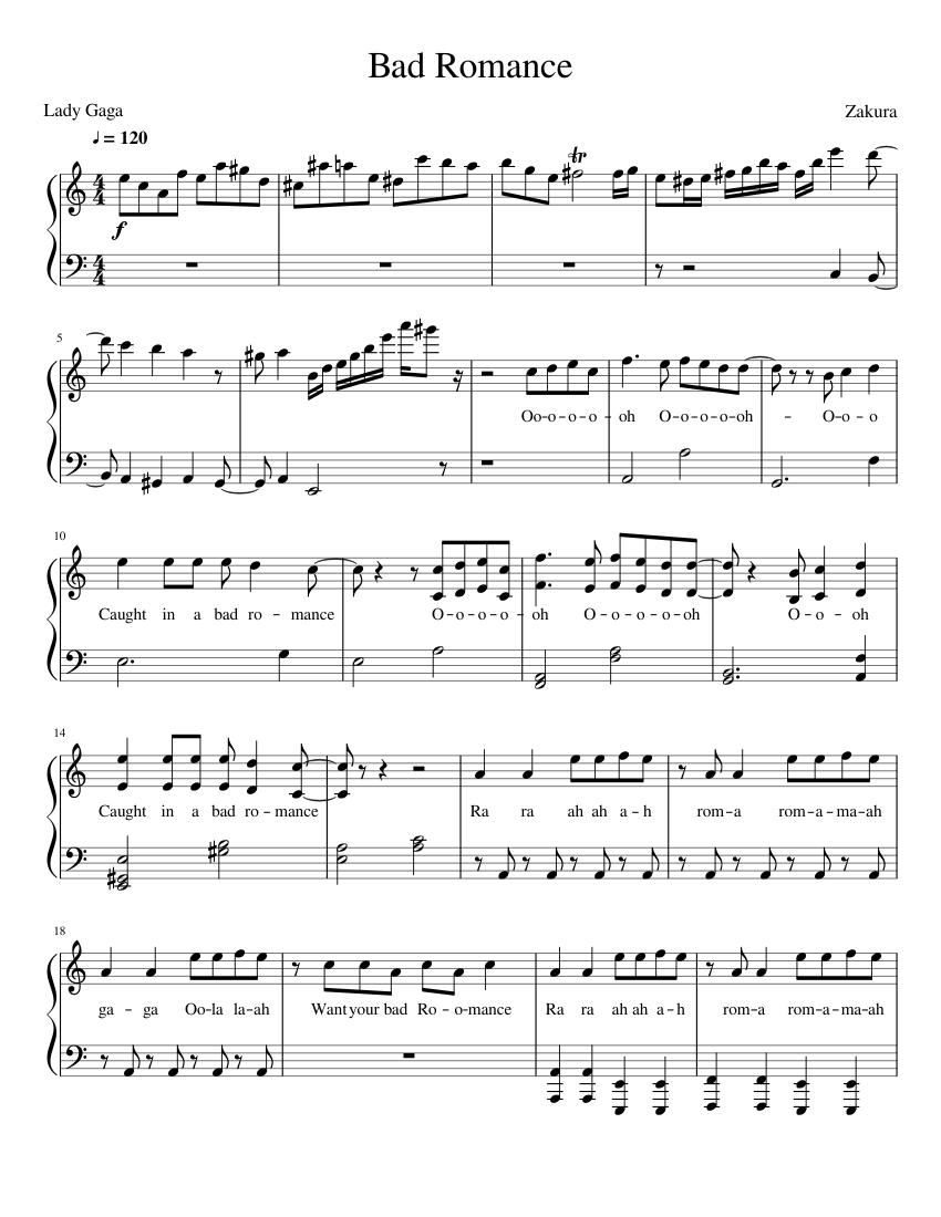 Bad Romance Sheet Music : romance, sheet, music, Romance, Sheet, Music, Piano, (Solo), Musescore.com