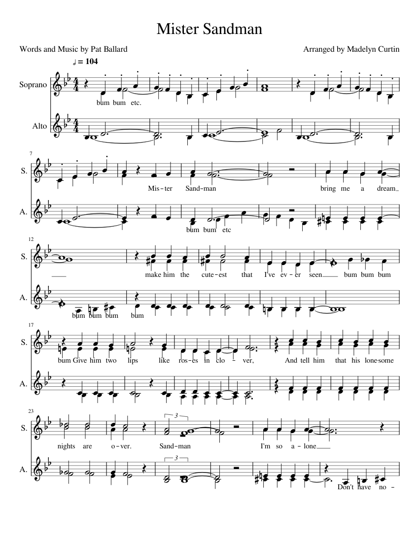 Mr Sandman Notes : sandman, notes, Mister, Sandman, Cappella, Sheet, Music, Soprano,, (Choral), Musescore.com