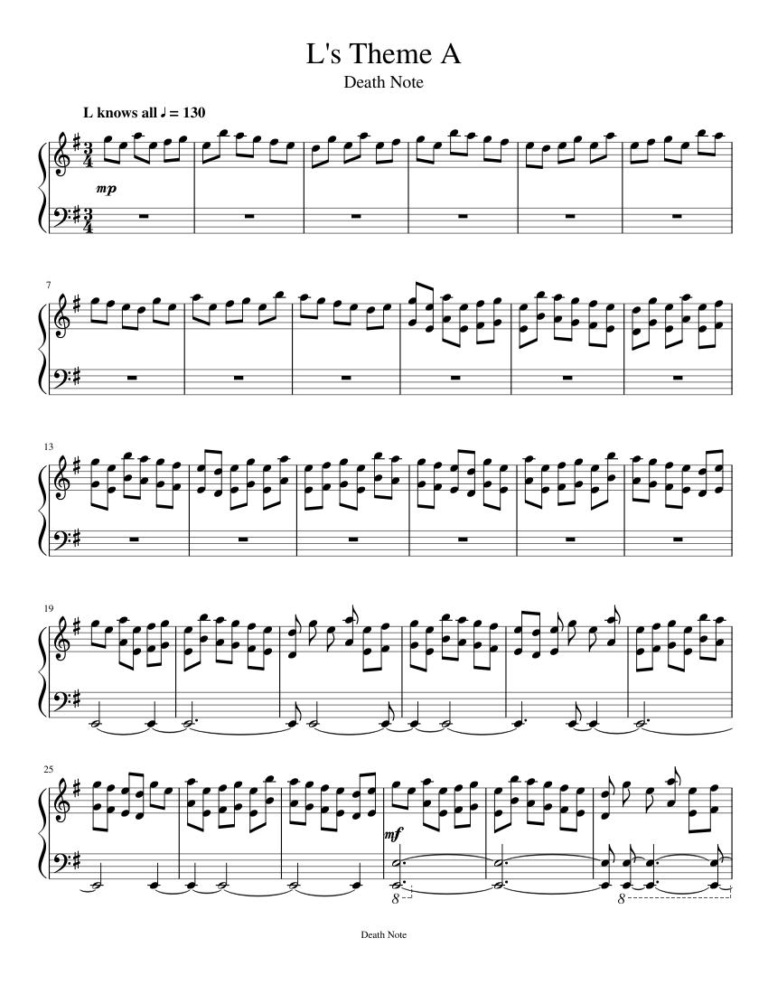 L's Theme Sheet Music : theme, sheet, music, Theme, Sheet, Music, Piano, (Solo), Musescore.com