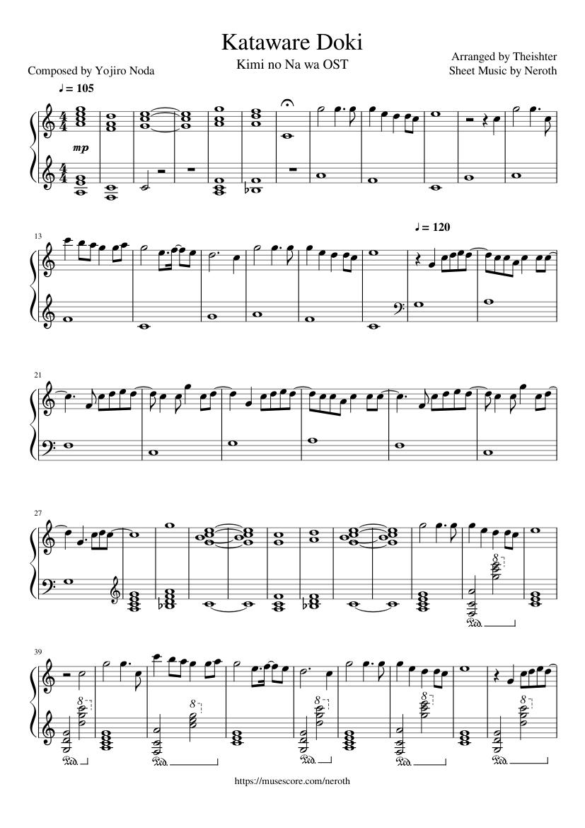 Kataware Doki Sheet Music : kataware, sheet, music, Theishter, Arr.],
