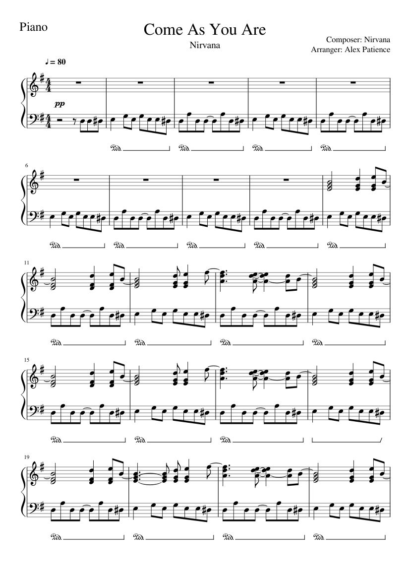 Come As You Are Notes : notes, Defenders, Trailer:, Piano, Lesson, Sheets, (Nirvana), Sheet, Music, (Solo), Musescore.com
