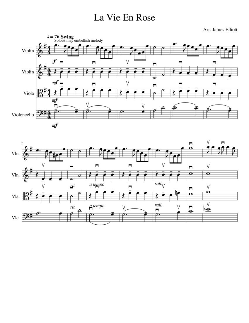 La Vie En Rose Notes : notes, Sheet, Music, Violin,, Cello,, Viola, (String, Quartet), Musescore.com
