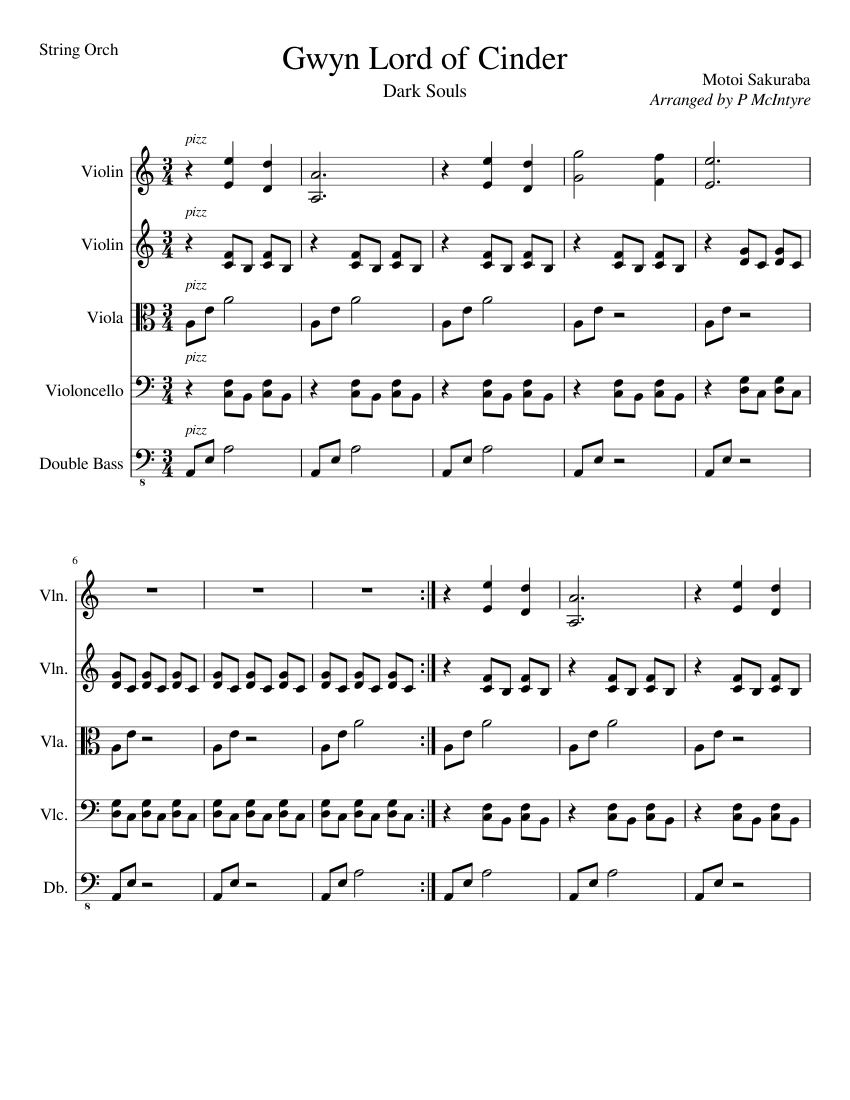 Gwyn Lord Of Cinder Piano Sheet Music : cinder, piano, sheet, music, Cinder, (String, Orch), Sheet, Music, Violin,, Cello,, Viola,, Contrabass, Quintet), Musescore.com