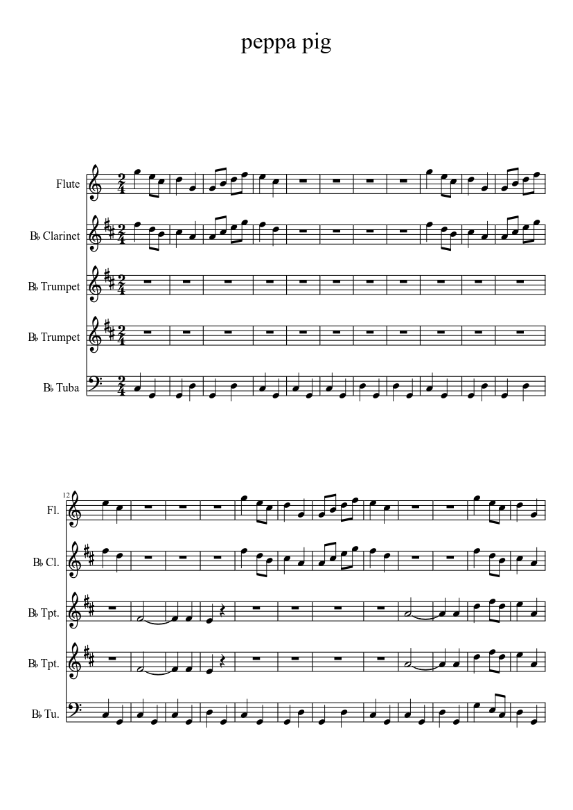 Peppa Pig Flute Notes : peppa, flute, notes, Peppa, Sheet, Music, Flute,, Tuba,, Trumpet,, Clarinet, (Mixed, Quintet), Musescore.com