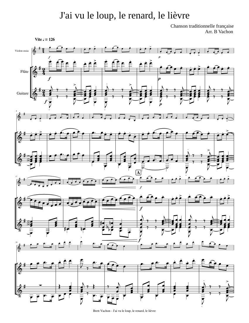 Chanson Le Loup Le Renard Et La Belette : chanson, renard, belette, Loup,, Renard,, Lièvre, Sheet, Music, Flute, (Mixed, Duet), Musescore.com