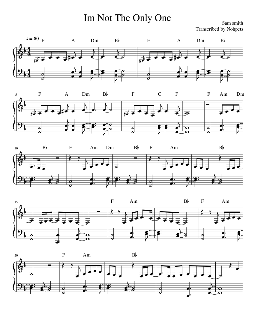 Sam Smith I'm Not The Only One : smith, Smith-Im, Sheet, Music, Piano, (Solo), Musescore.com