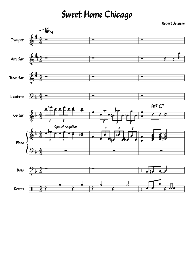 Play the minor ninth, min/m9, and add9 piano chords with illustrated fingering and treble staff notation. Sweet Home Chicago Sheet Music For Piano Trombone Bass Trumpet More Instruments Mixed Quintet Musescore Com