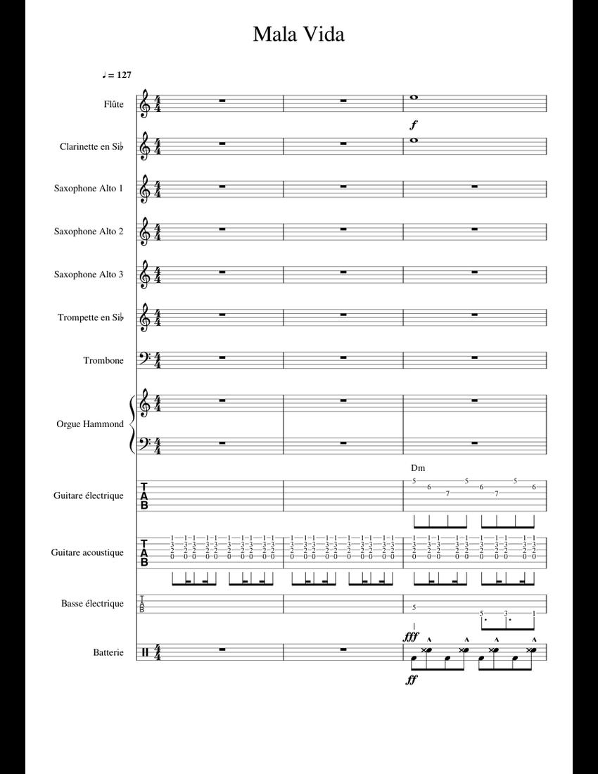 Mano Negra Mala Vida : negra, Negra, (full, Instrumental), Sheet, Music, Trumpet, Flat),, Trombone,, Flute,, Group, Instruments, (Concert, Band), Musescore.com